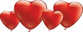 Herzballons, rot, 10 Stück