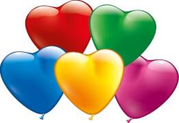 Herzballons, bunt, 20 Stück