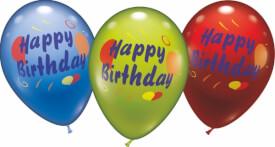 Ballons Happy Birthday, 6 Stück, Durchm.: 30 cm